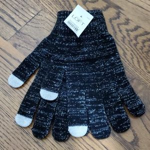 NWT Ann Taylor Loft Metallic & Black gloves